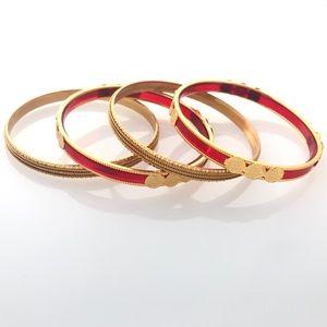 NWOT Red Gold Indian Bangle Bracelet Set of Four